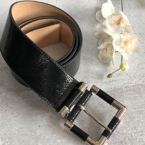 Talbots Black Wide Shiny Belt. Size Large